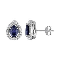 Lab-Created Blue Sapphire & Lab-Created White Sapphire Sterling Silver Teardrop Halo Stud Earrings