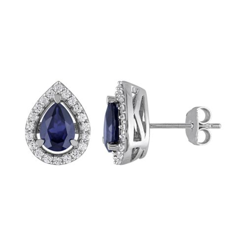 Lab-Created Blue Sapphire and Lab-Created White Sapphire Sterling Silver Teardrop Halo Stud Earrings