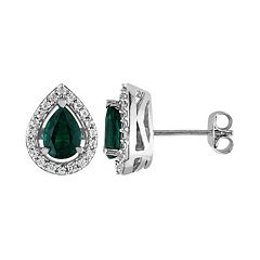 Lab-Created Emerald & Lab-Created White Sapphire Sterling Silver Teardrop Halo Stud Earrings