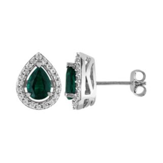 Lab-Created Emerald and Lab-Created White Sapphire Sterling Silver Teardrop Halo Stud Earrings