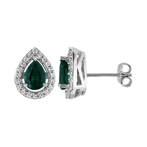 Stella Grace Lab-Created Emerald and Lab-Created White Sapphire Sterling Silver Teardrop Halo Stud Earrings