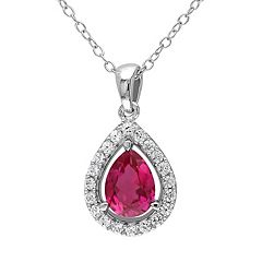 Lab-Created Ruby & Lab-Created White Sapphire Sterling Silver Teardrop Halo Pendant Necklace