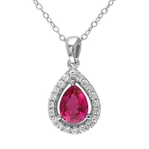 Stella Grace Lab-Created Ruby & Lab-Created White Sapphire Sterling Silver Teardrop Halo Pendant Necklace