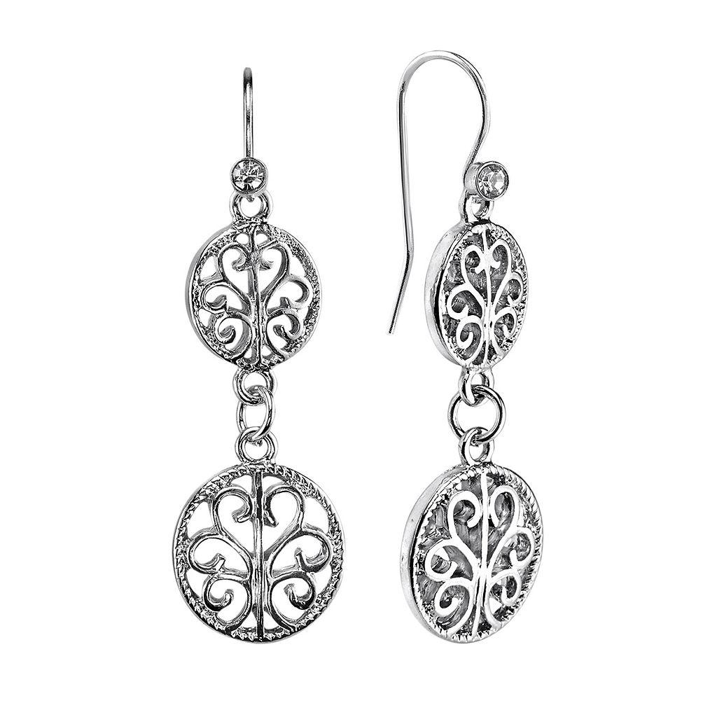 1928 Filigree Circle Drop Earrings