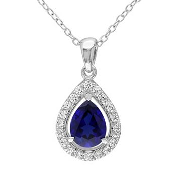 Lab-Created Blue Sapphire & Lab-Created White Sapphire Sterling Silver Teardrop Halo Pendant Necklace