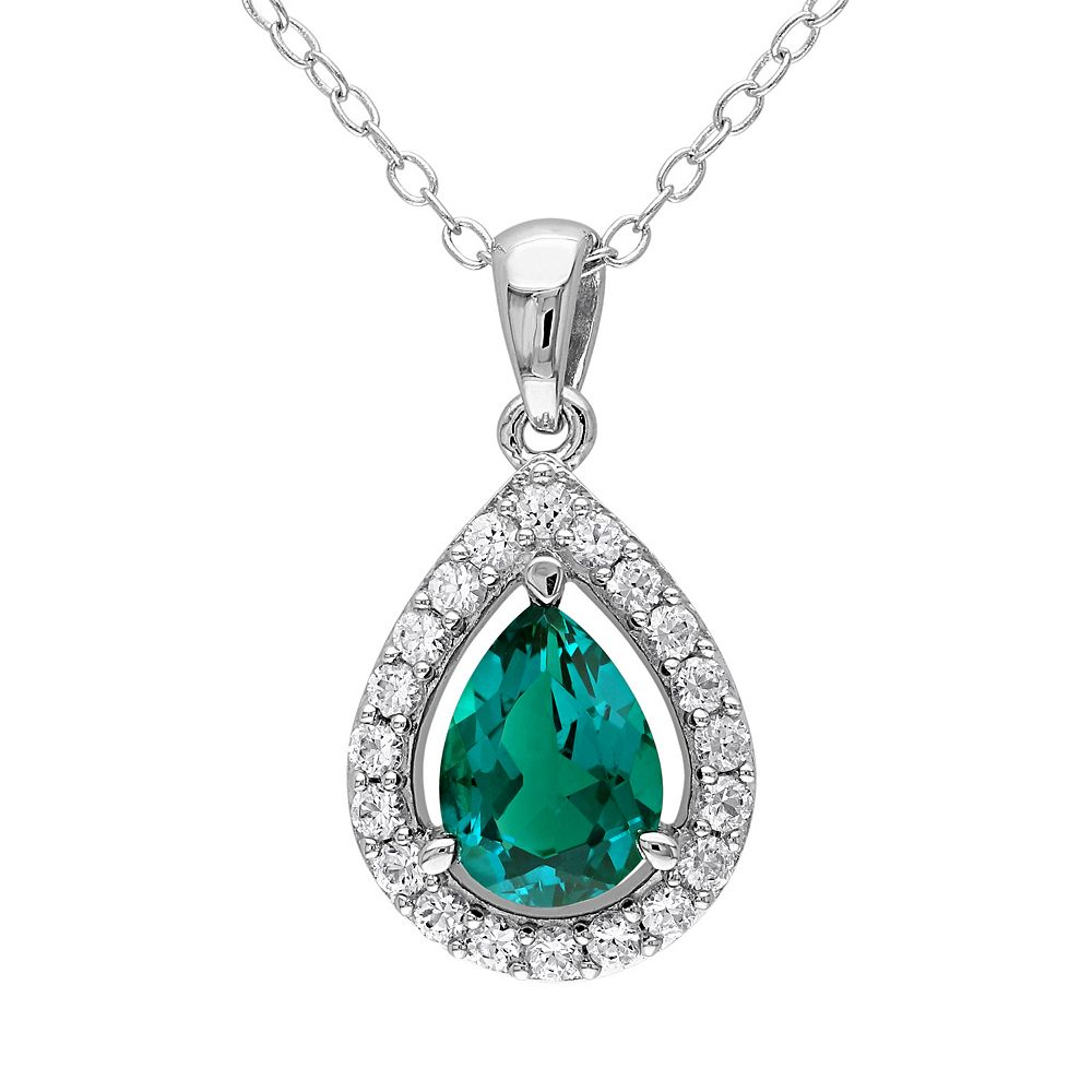 Stella Grace Lab-Created Emerald & Lab-Created White Sapphire Sterling Silver Teardrop Halo Pendant Necklace