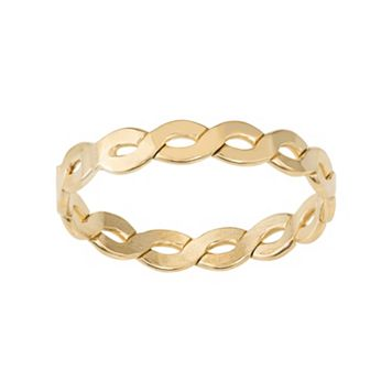 Journee Collection Gold Tone Sterling Silver Twist Ring