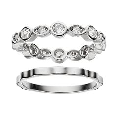 Cubic Zirconia Silver-Plated Wavy Ring Set