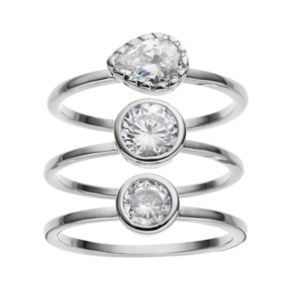 Cubic Zirconia Silver-Plated Teardrop Ring Set