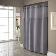 Dobby Pique Mystery Hookless Gray Fabric Shower Curtain
