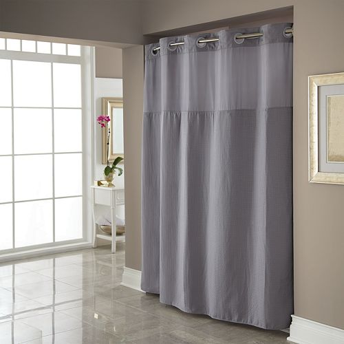 Dobby Pique Mystery Hookless Gray Fabric Shower Curtain