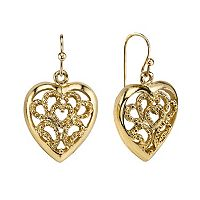 1928 Openwork Heart Drop Earrings