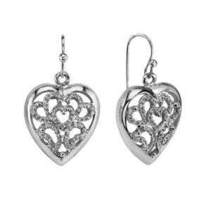 1928 Openwork Heart Drop Earrings