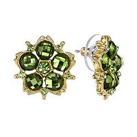 1928 Simulated Crystal Flower Stud Earrings