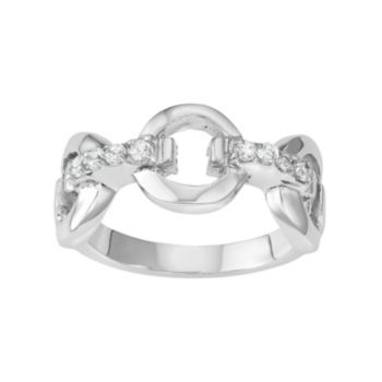 Journee Collection Sterling Silver Cubic Zirconia Circle Link Ring