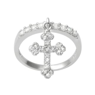 Journee Collection Cubic Zirconia Sterling Silver Cross Charm Ring
