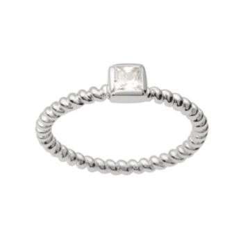 Journee Collection Cubic Zirconia Sterling Silver Twist Ring