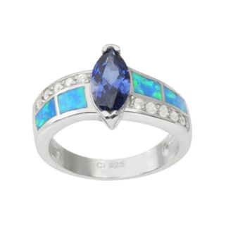 Journee Collection Cubic Zirconia and Simulated Opal Sterling Silver Ring