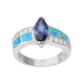 Journee Collection Cubic Zirconia & Simulated Opal Sterling Silver Ring