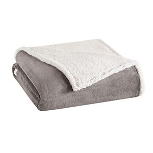 Madison Park Plush Microlight and Berber Blanket