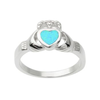 Journee Collection Simulated Opal Sterling Silver Claddagh Heart Ring
