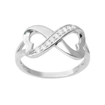 Journee Collection Cubic Zirconia Sterling Silver Heart Infinity Ring