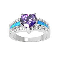 Journee Collection Cubic Zirconia & Simulated Opal Sterling Silver Heart Ring