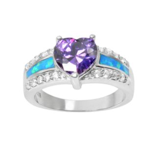 Journee Collection Cubic Zirconia and Simulated Opal Sterling Silver Heart Ring