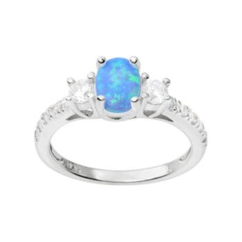 Journee Collection Simulated Opal and Cubic Zirconia Sterling Silver 3-Stone Ring