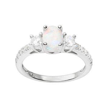Journee Collection Simulated Opal & Cubic Zirconia Sterling Silver 3-Stone Ring