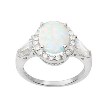 Journee Collection Simulated Opal & Cubic Zirconia Sterling Silver Halo Ring