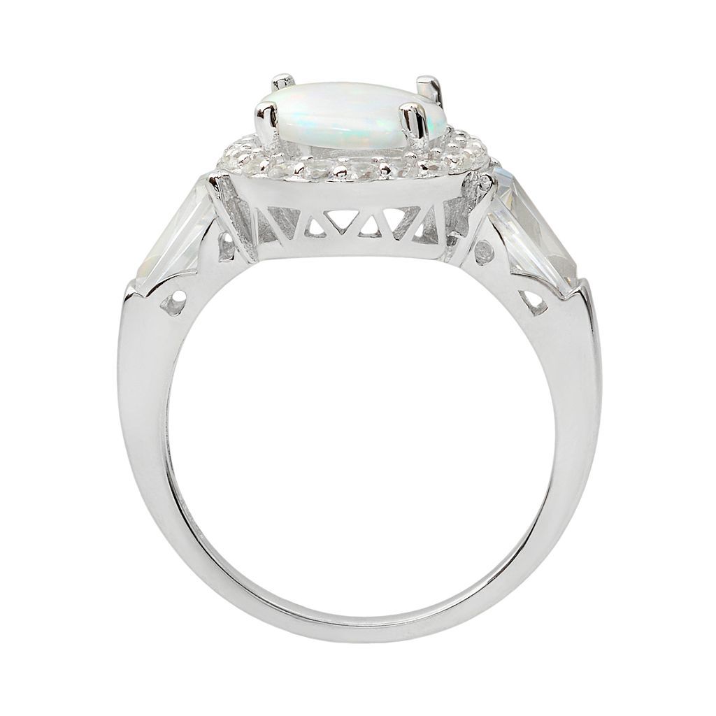 Journee Collection Simulated Opal and Cubic Zirconia Sterling Silver Halo Ring