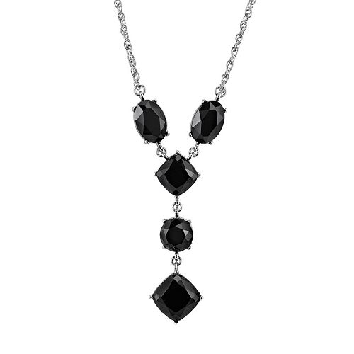 1928 Geometric Faceted Stone Y Necklace