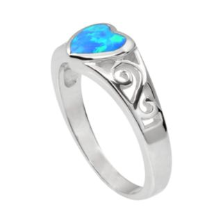 Journee Collection Simulated Opal Sterling Silver Heart Ring