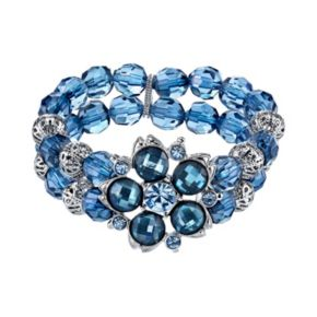 1928 Flower and Bead Multirow Stretch Bracelet