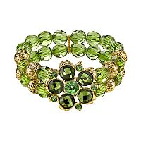 1928 Flower & Bead Multirow Stretch Bracelet