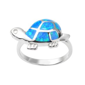 Journee Collection Simulated Opal Sterling Silver Turtle Ring