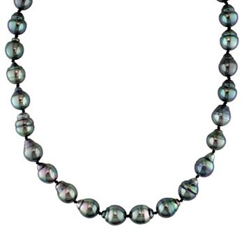 Dyed Tahitian Cultured Pearl Necklace in 14k White Gold (8-9.5 mm)