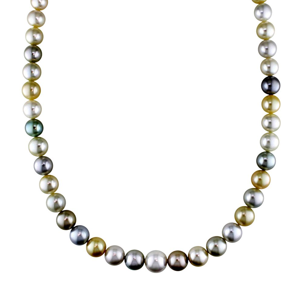 Stella Grace Dyed South Sea and Tahitian Cultured Pearl Necklace in 14k Gold (9-12 mm)