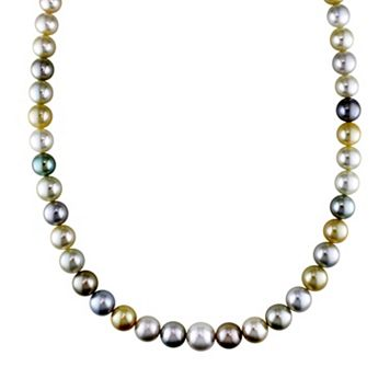 Dyed South Sea & Tahitian Cultured Pearl Necklace in 14k Gold (9-12 mm)