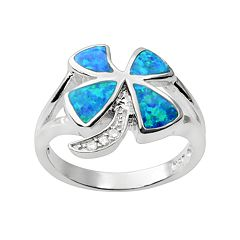 Journee Collection Simulated Opal & Cubic Zirconia Sterling Silver Four-Leaf Clover Ring