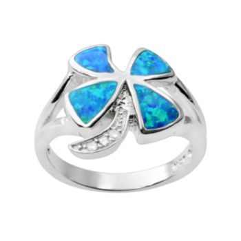 Journee Collection Simulated Opal and Cubic Zirconia Sterling Silver Four-Leaf Clover Ring