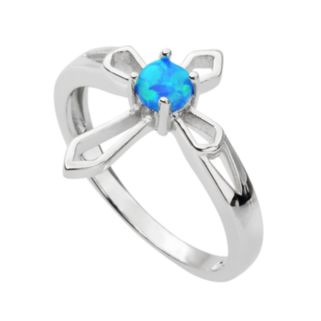 Journee Collection Simulated Opal Sterling Silver Cross Ring