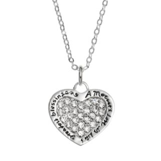 Silver Expressions by LArocks Cubic Zirconia Silver-Plated Mother Heart Pendant Necklace