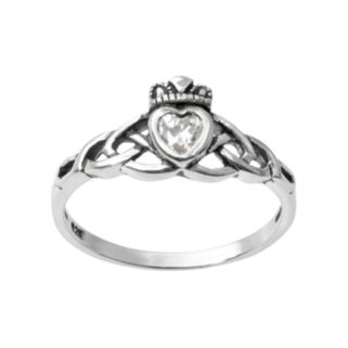 Journee Collection Cubic Zirconia Sterling Silver Heart & Crown Ring