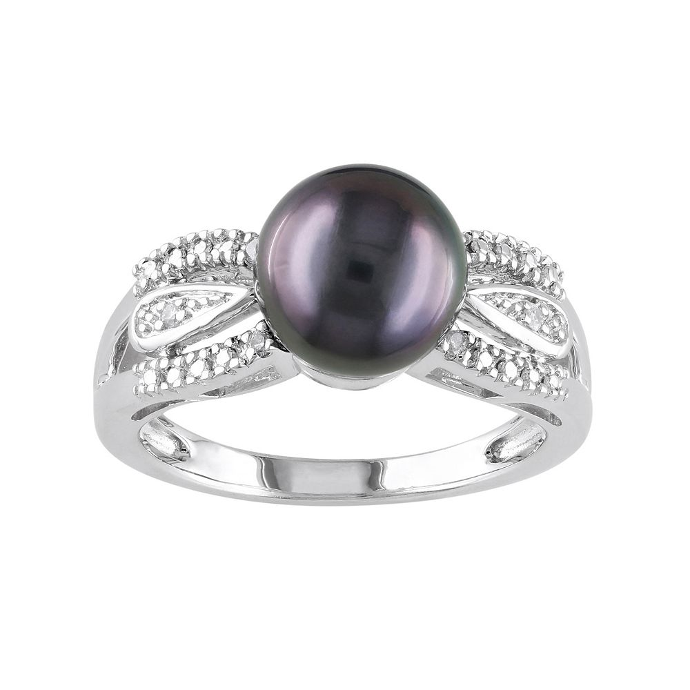 Tahitian Cultured Pearl & Diamond Accent Sterling Silver Ring
