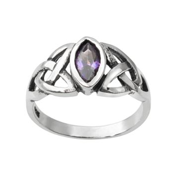 Journee Collection Cubic Zirconia Sterling Silver Celtic Knot Ring