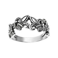 Journee Collection Sterling Silver Fleur-de-Lis Ring