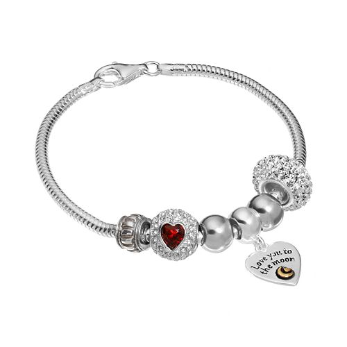 """Individuality Beads 14k Gold Over Silver Snake Chain Bracelet & """"Love You to the Moon"""" Charm & Bead Set"""