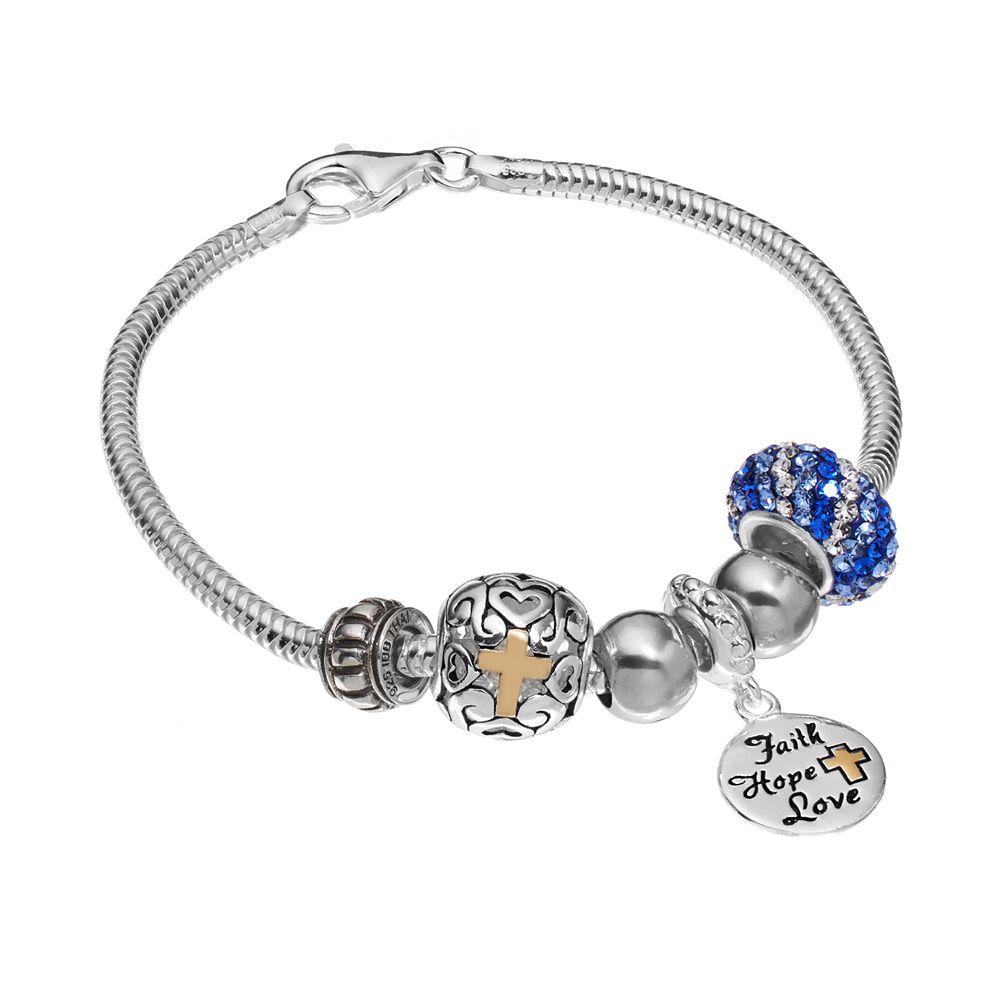 "Individuality Beads 14k Gold Over Silver Snake Chain Bracelet & ""Faith, Hope, Love"" Charm & Bead Set"